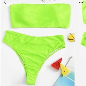 Other - Trendy Neon Green Bathing Suit Set